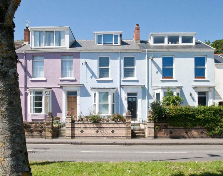 Outside View, Mumbles Road property is the Blue one in the middle.