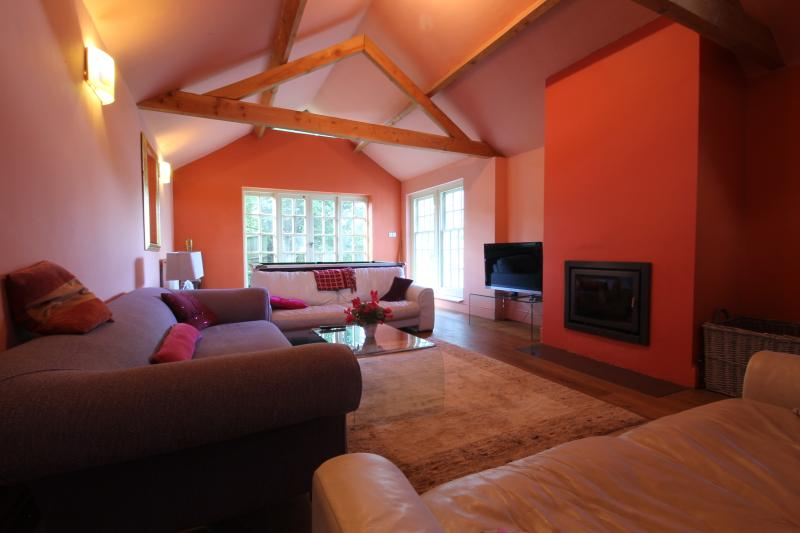 Main Lounge with inset log burner, pool table, LED TV and DVD