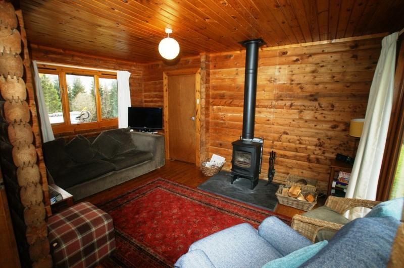 Lounge with wood burning stove Glen Ogle Lodge, Lochearnhead Pethshire Scotland