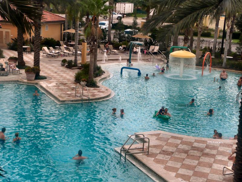Large main pool with  waterjet playscape