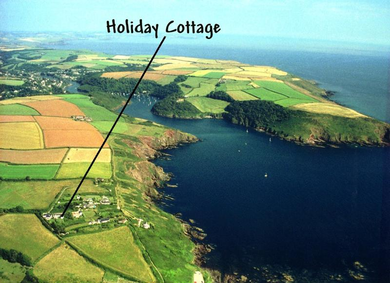 Aerial photo of holiday cottage