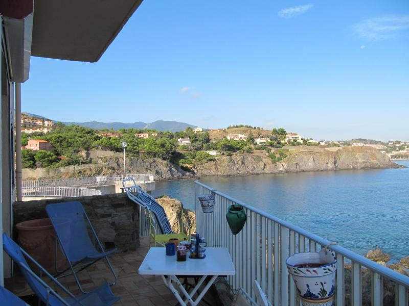 View from just outside living room, across to Collioure