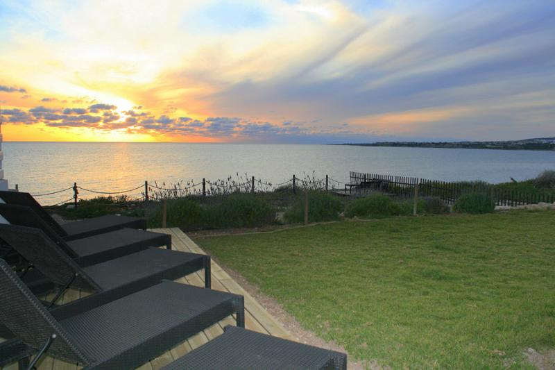 Spectacular sunsets every day from the sun bed deck