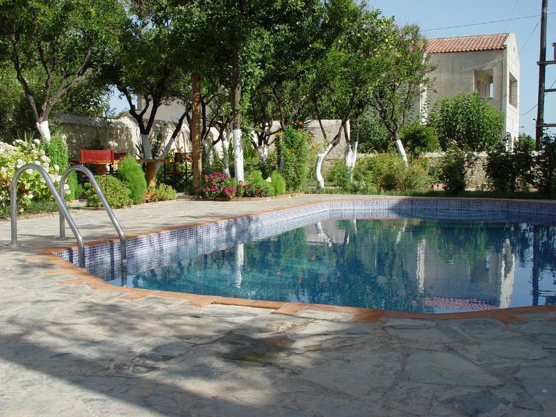 Private 36m2 swimming pool garden area with private parking inside.