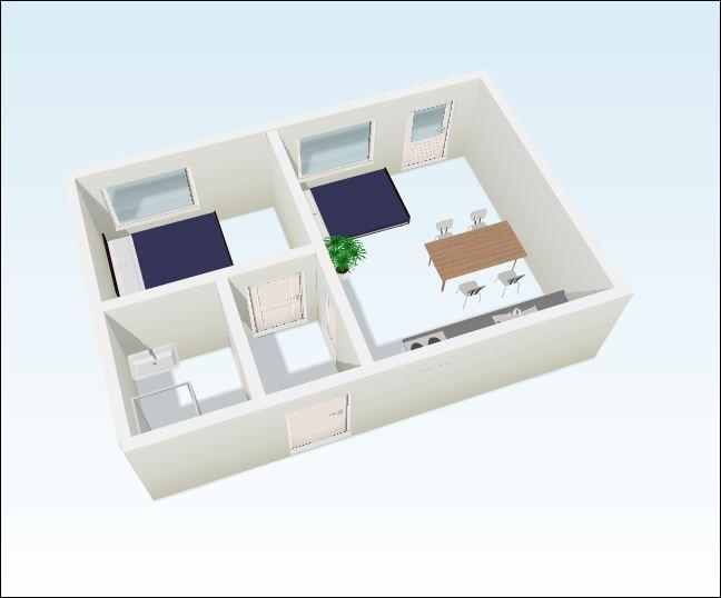 Two separate rooms with beds