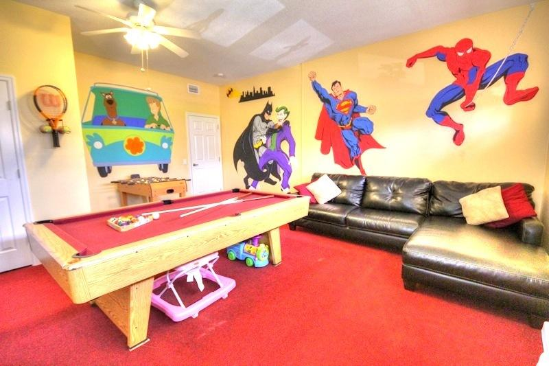Air conditioned Game room: Pool Table, Foosball, Playstation 3, Wii Fit, Toys, 42 inch flat screen.