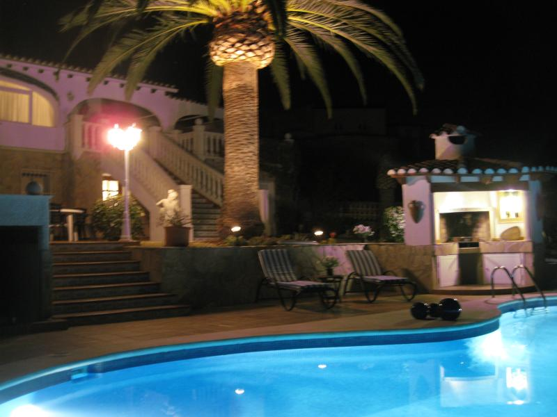 Pool and BBQ by night