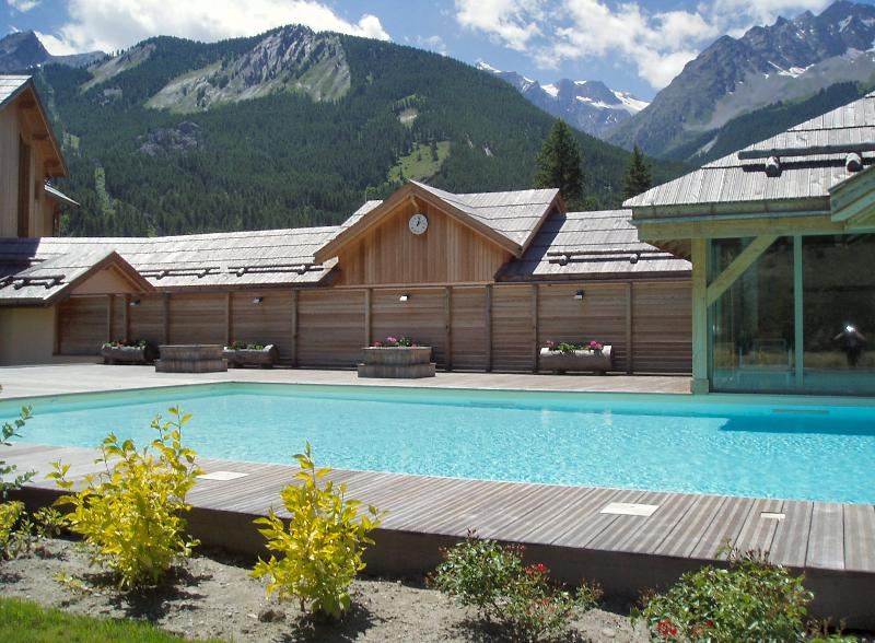 Heated pool with views of the mountains.