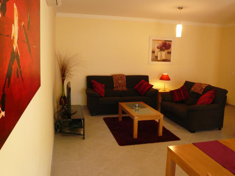 Spacious lounge and dining area with satellite TV and DVD player