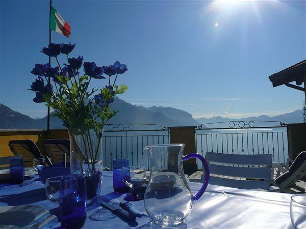 Spectacular views of the lake and the mountains from the terrace at Domus Mira