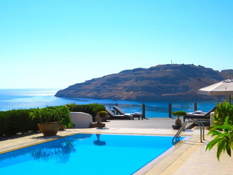 Villa Kalliopi enjoys sensational sea views across Vlicha Bay near Lindos