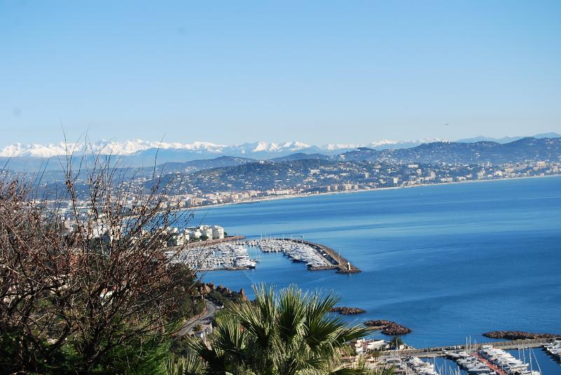 View from the villa: sea shore,baie de Cannes and mountains
