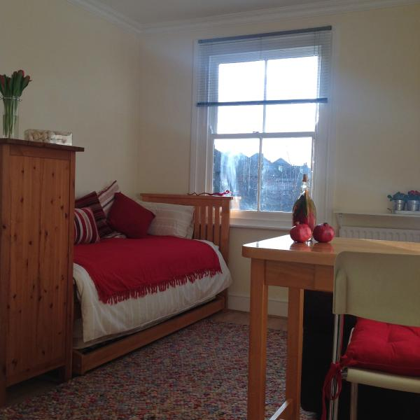 Studio/bedroom furnished with twin bed set; table area for 2, sofa and large wardrobe, garden view.