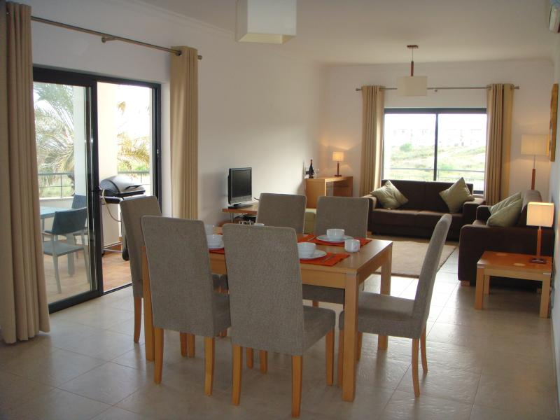 Dining and lounge area - apartment is fully equipped for self catering and has UK & satellite TV