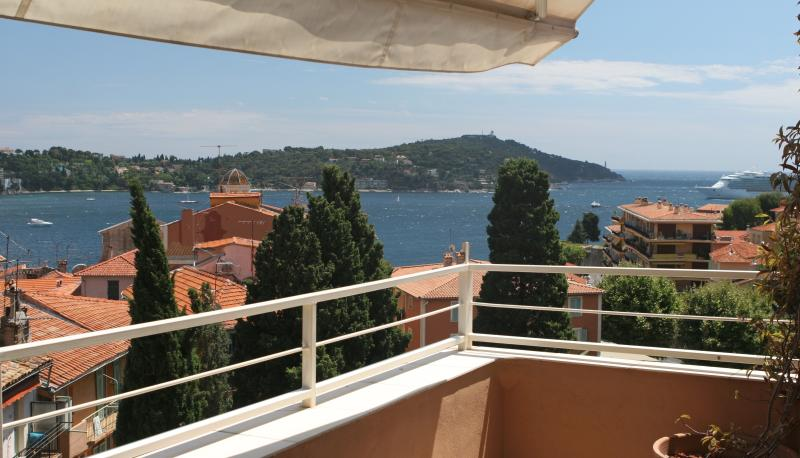 Overlooking the old town and bay of Villefranche sur Mer to Cap Ferrat from the terrace.