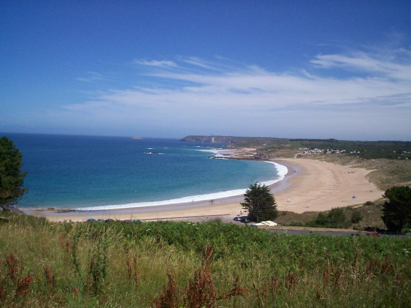 view of the beach at pleherel plage