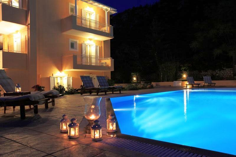 At night , sitting by the pool ,enjoable and unforgetable moments