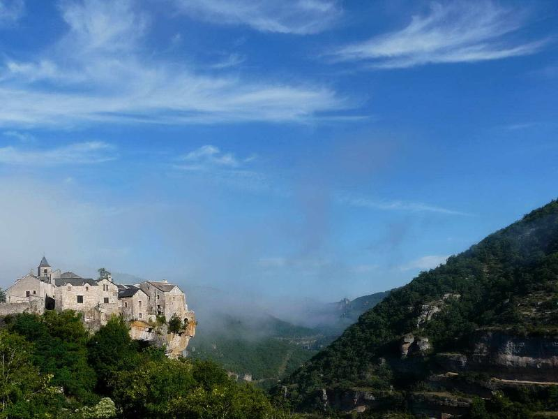 Cantobre from the East and climbing wall on right (Autumn early morning mists just clearing)