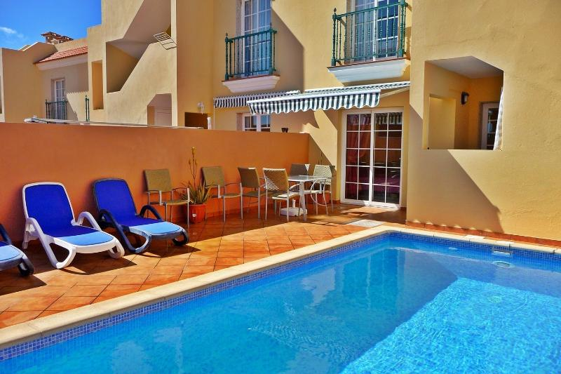 Secluded Pool and Patio area, perfect for sunbathing or dining by the pool