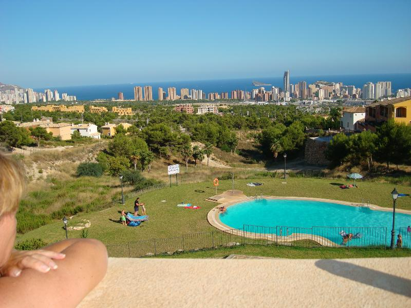 View from sun-terrace over pool and Benidorm Bay