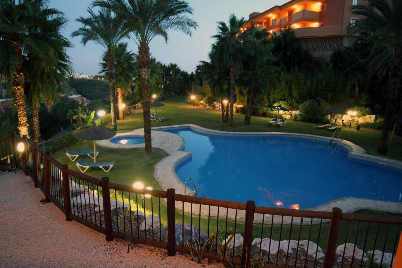 Evening view of the pool from the Terrace