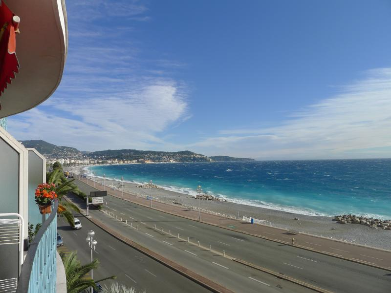 Sea view from balcony: Seven kilometers of beaches directly across the street from the apartment