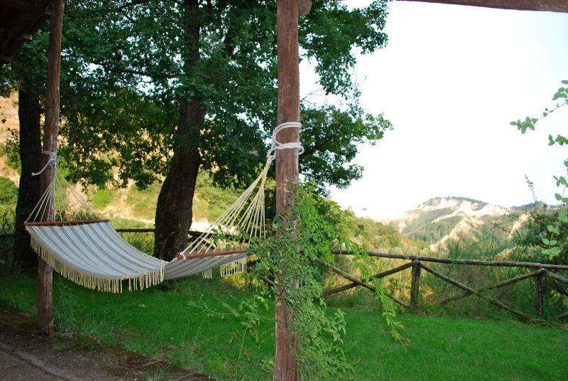 Relax on the hammock, overlooking the canyon