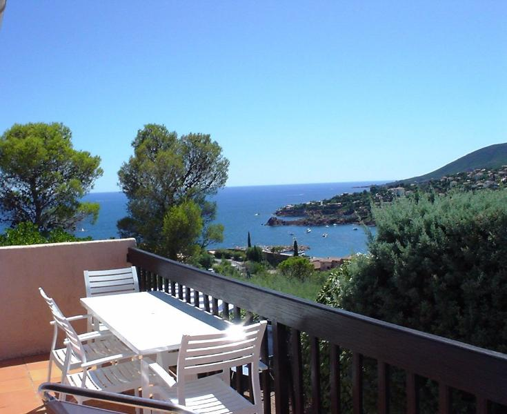 The upper deck - relaxed outdoor living and lovely views of the Mediterranean