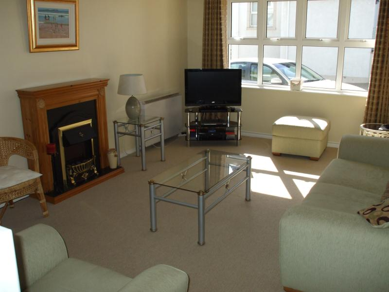 Bright living area with sofas and flat screen TV