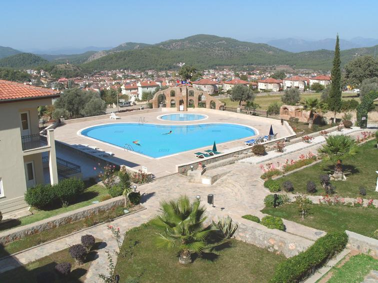 View from our balcony of the gardens, the two pools and the towns of Ovacik and Hisaronu