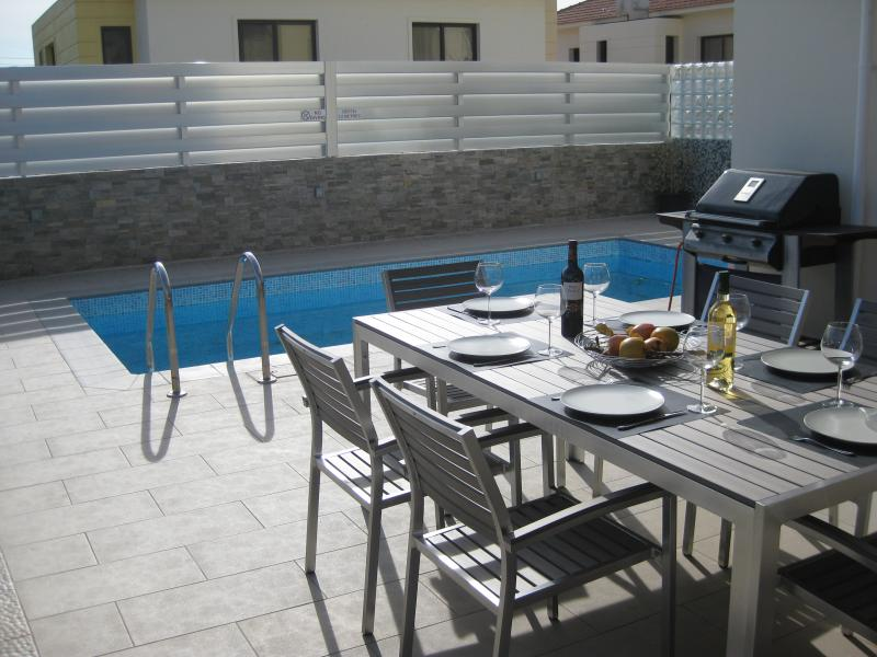 Stylish patio table and private pool with outdoor hot and cold shower