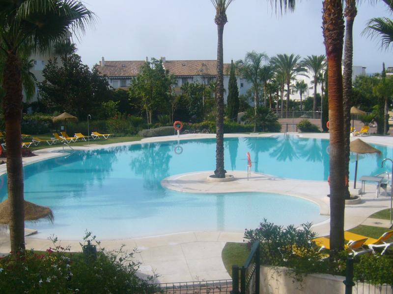 View of the swimming pool in the tropical gardens
