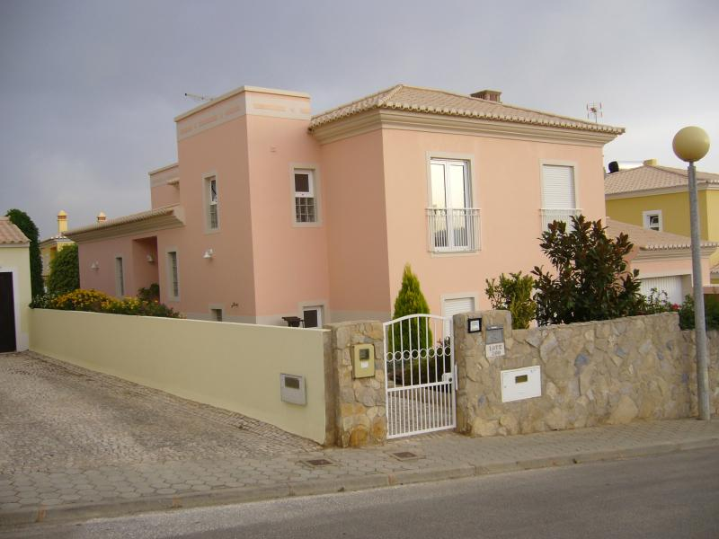 The pink villa from the front