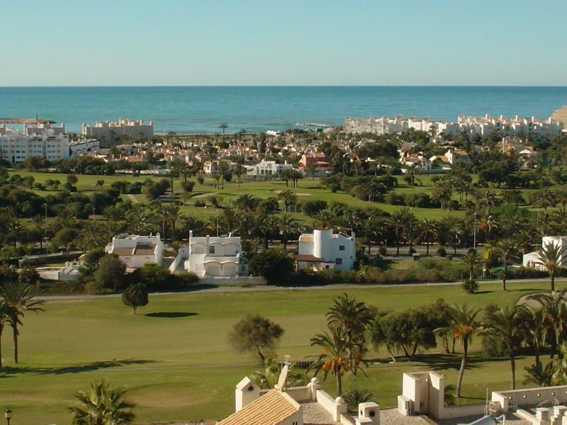 Panoramic views overlooking the golf course and the Mediterranean Sea.