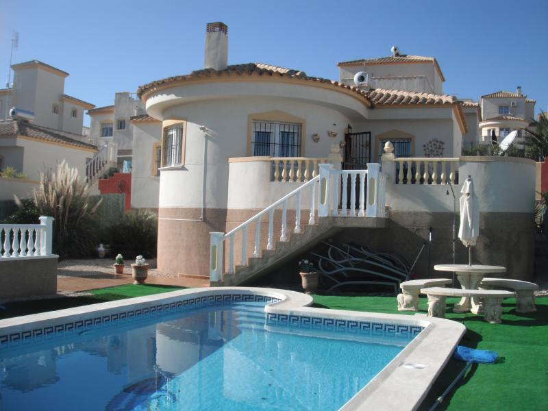 FRONT VIEW/all beach towels provided/outside shower/plenty of seating