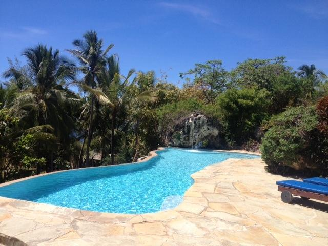 Our 16 mtr infinity pool with waterfall, overlooking the Indian Ocean