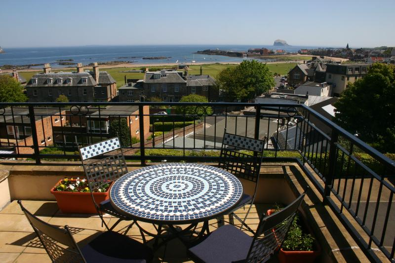 the balcony overlooking beach, harbour and Bass Rock