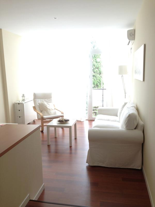 Entrance to the living room with floor to ceiling windows to the street