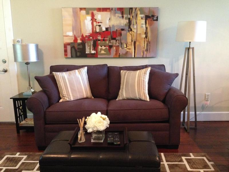 Living Room with Love Seat Sleeper & memory foam topper