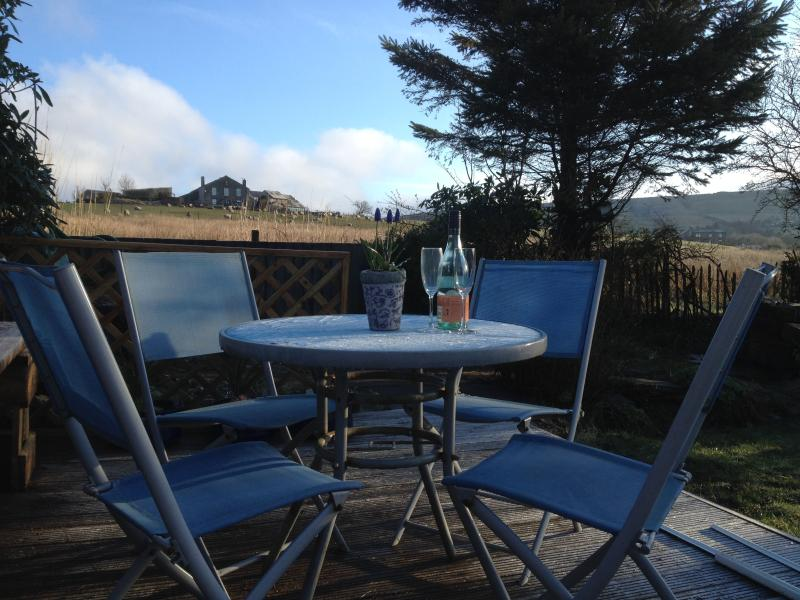 Decking with views of the hills