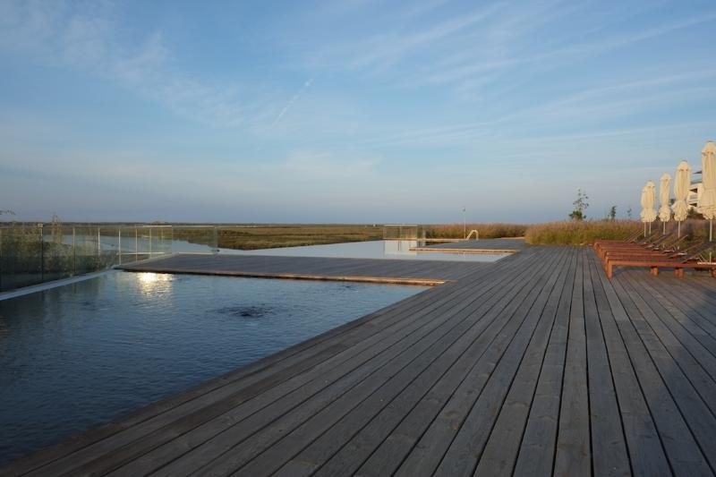 Infinity pool in the garden viewing over the Ria Formosa
