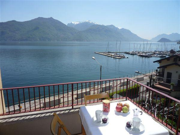 The lovely lake and mountain views from the Terrace Balcony at  Residenza Menaggio Mimosa