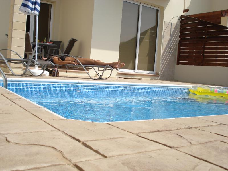 Relax in the sun or have fun in the private pool