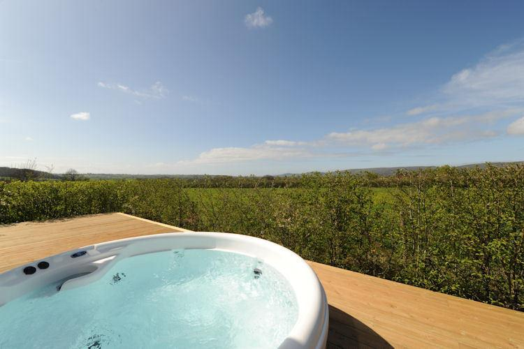 Hot tub with country views