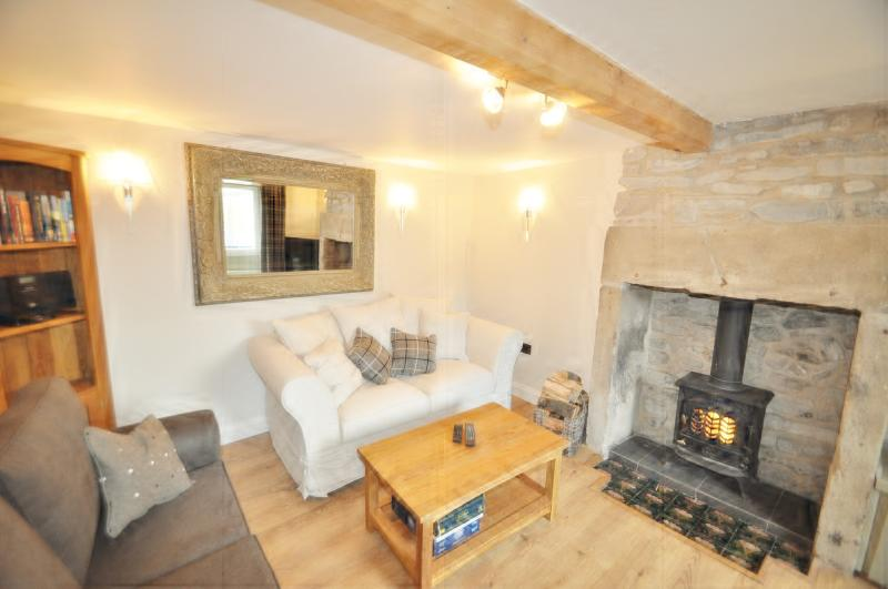 comfy lounge with log burner and 40inch flat screen t.v. with freeview