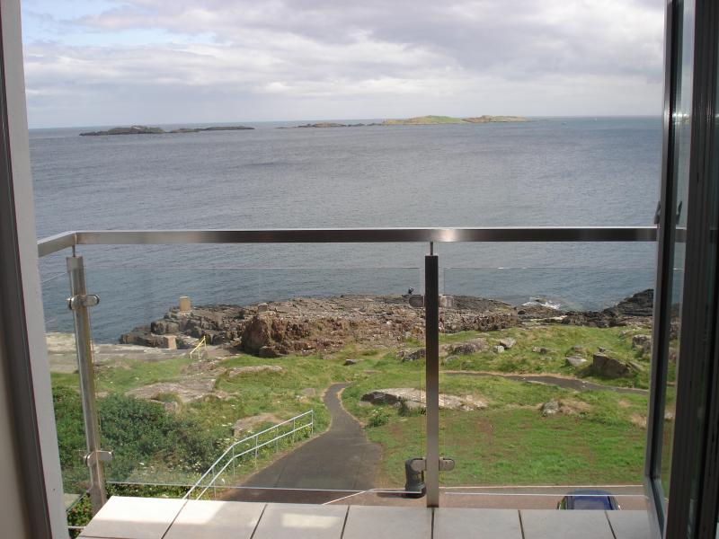 The balcony view of skerries, towards the white rocks & Scotland from living room