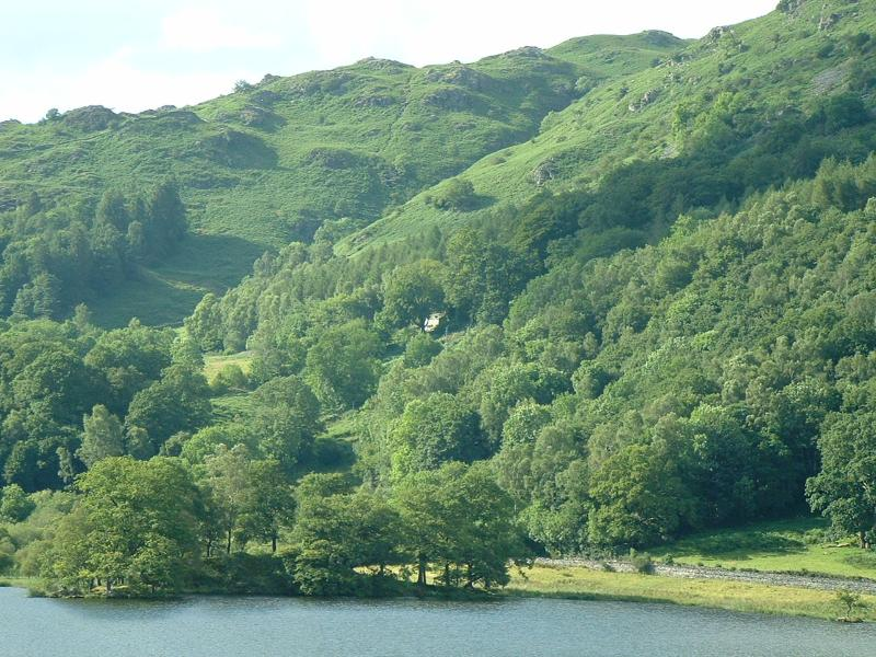 View across Rydal Water to Brockstone cottage
