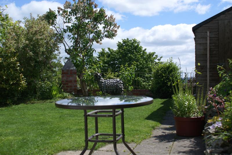 Garden at back of Cottage with views of the Clun hills