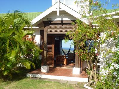 The Villa Frangipani - view Vigie peninsula and sea through open doorway