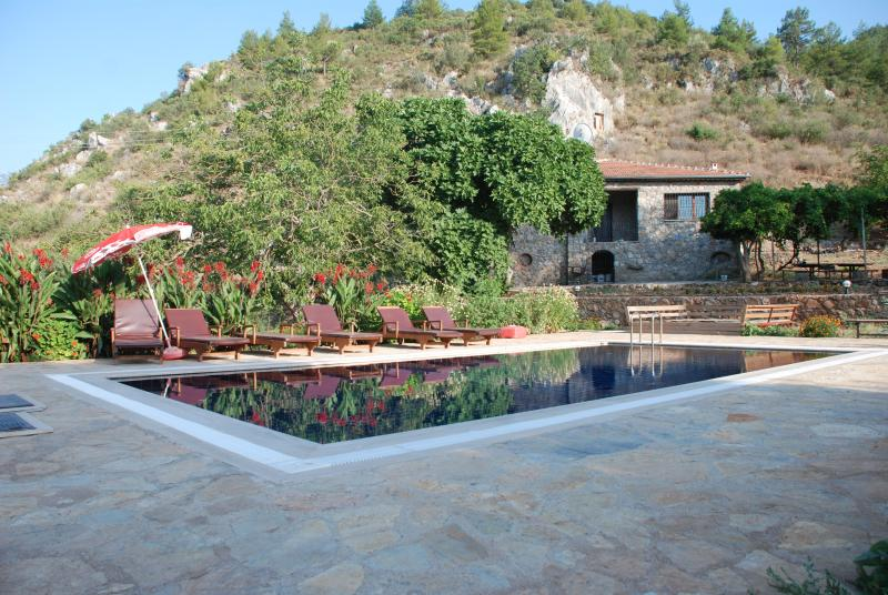 view looking at villa from pool